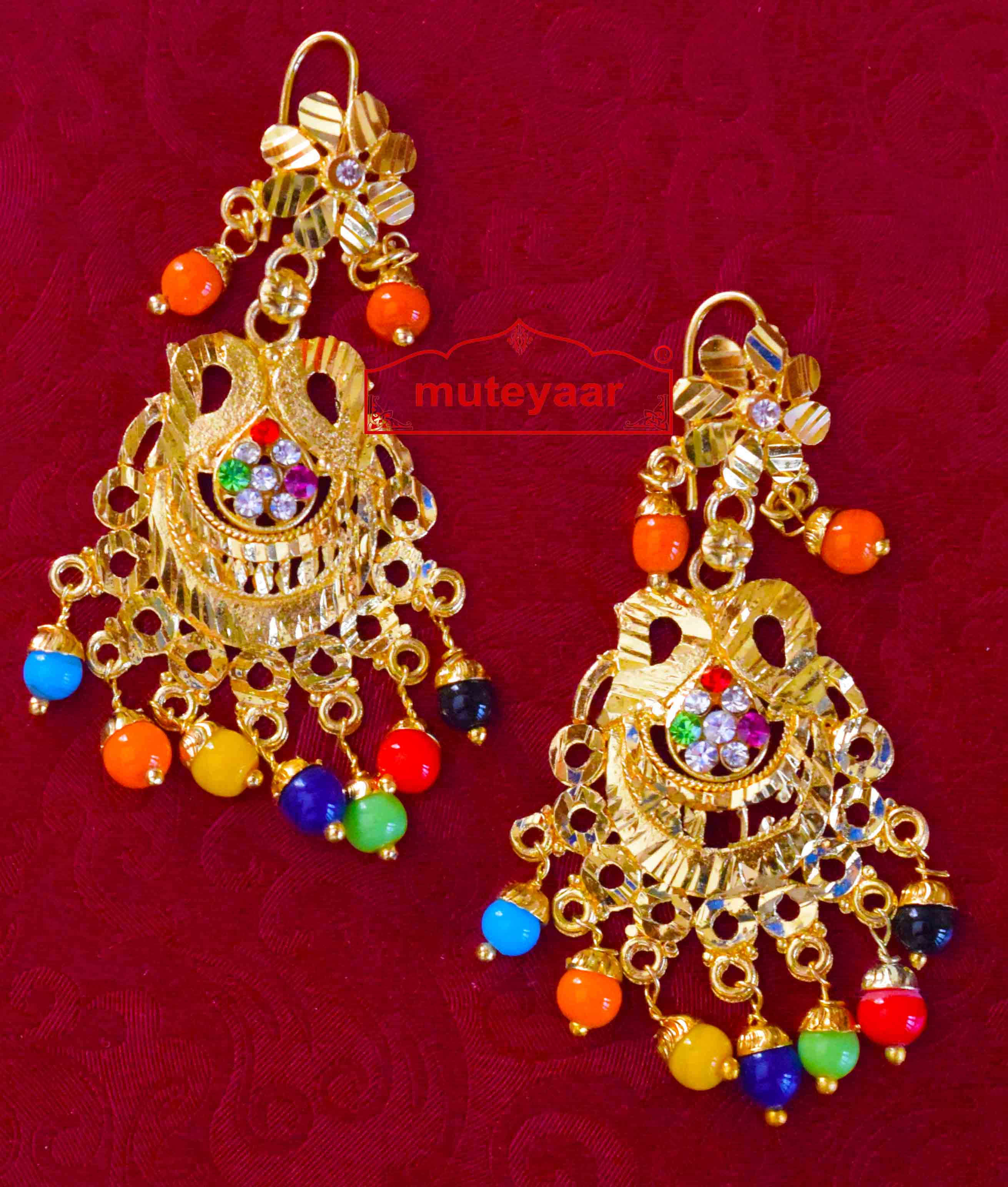 Golden Punjabi Jadau Earrings Jhumka J0413 1