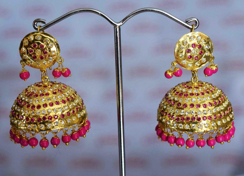 Punjabi Jadau Earrings Big Jhumka with magenta beads J0423 1