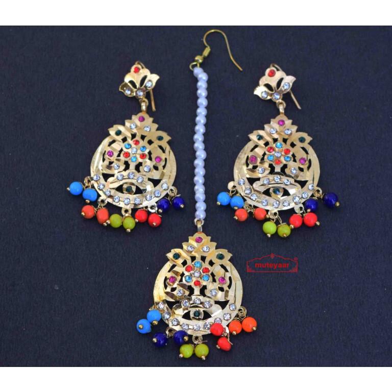 Jadau Traditional Punjabi Tikka Earrings J0429