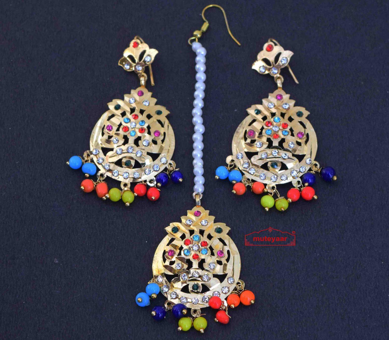 Jadau Traditional Punjabi Tikka Earrings J0429 1