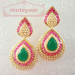 Jadau Work Gold Polished Traditional Punjabi Earrings J0436