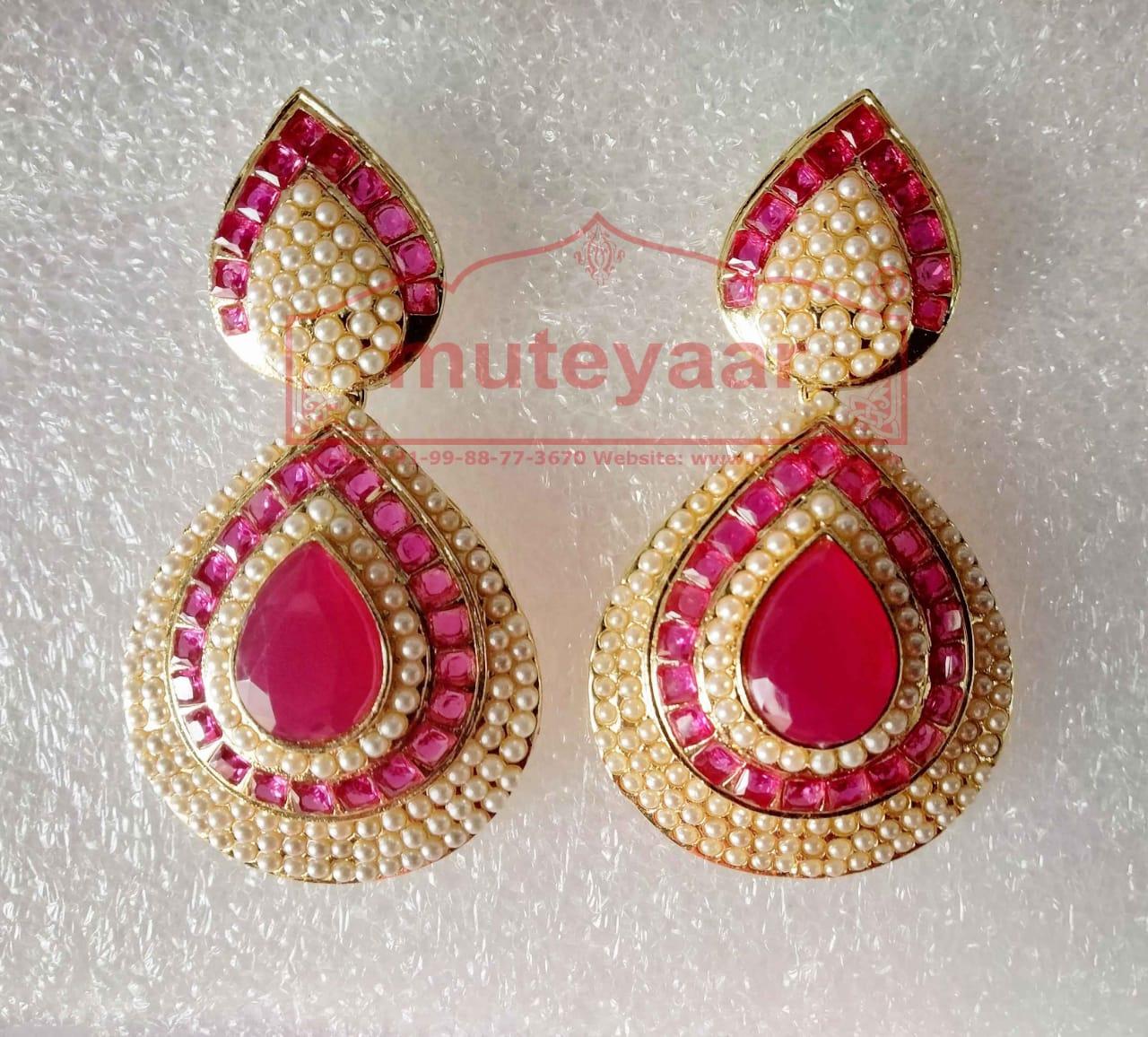 Jadau Work Gold Polished Traditional Punjabi Earrings J0438 1