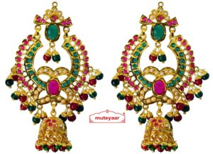 Jadau Gold Polished Punjabi Earrings set J0465