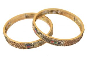 Antique Golden designer bangles with multicolor meena work BN151