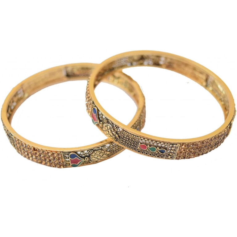 Antique Golden designer bangles with multicolor meena work BN151