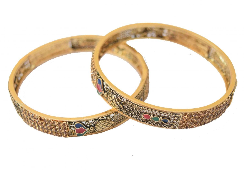 Antique Golden designer bangles with multicolor meena work BN151 1