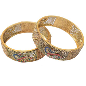 Antique Golden designer bangles with multicolor morni meena work BN152