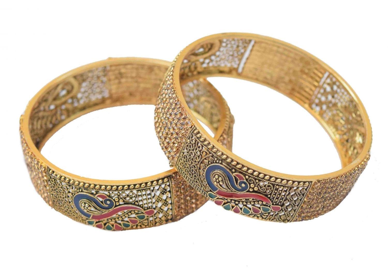 Antique Golden designer bangles with multicolor morni meena work BN152 1