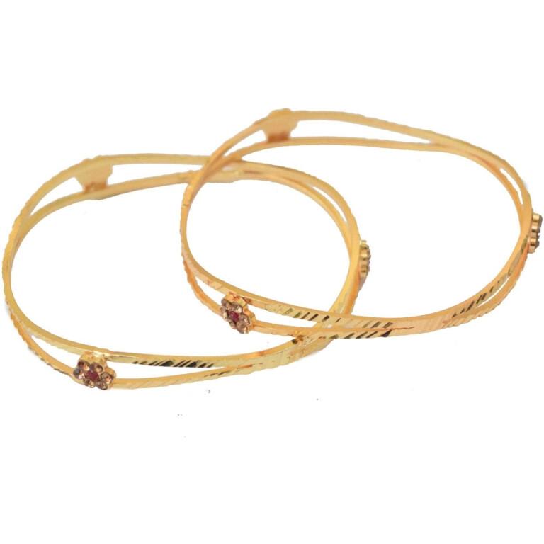 Sleek Golden designer bangles pair BN153
