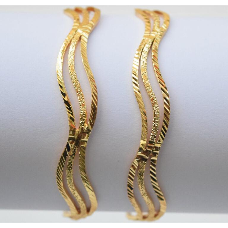 Sleek Golden designer bangles pair BN154