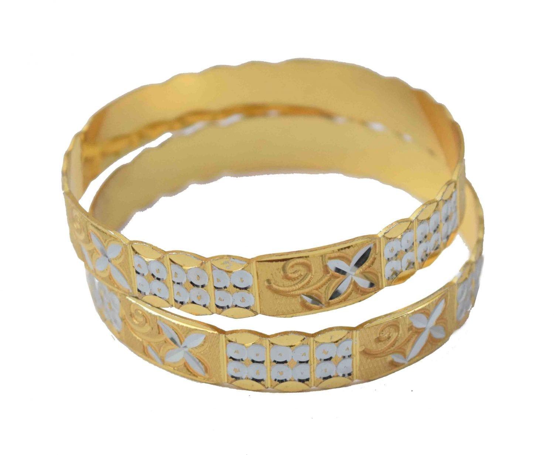 Golden Silver designer kangan bangles set of 2 pieces BN156 1