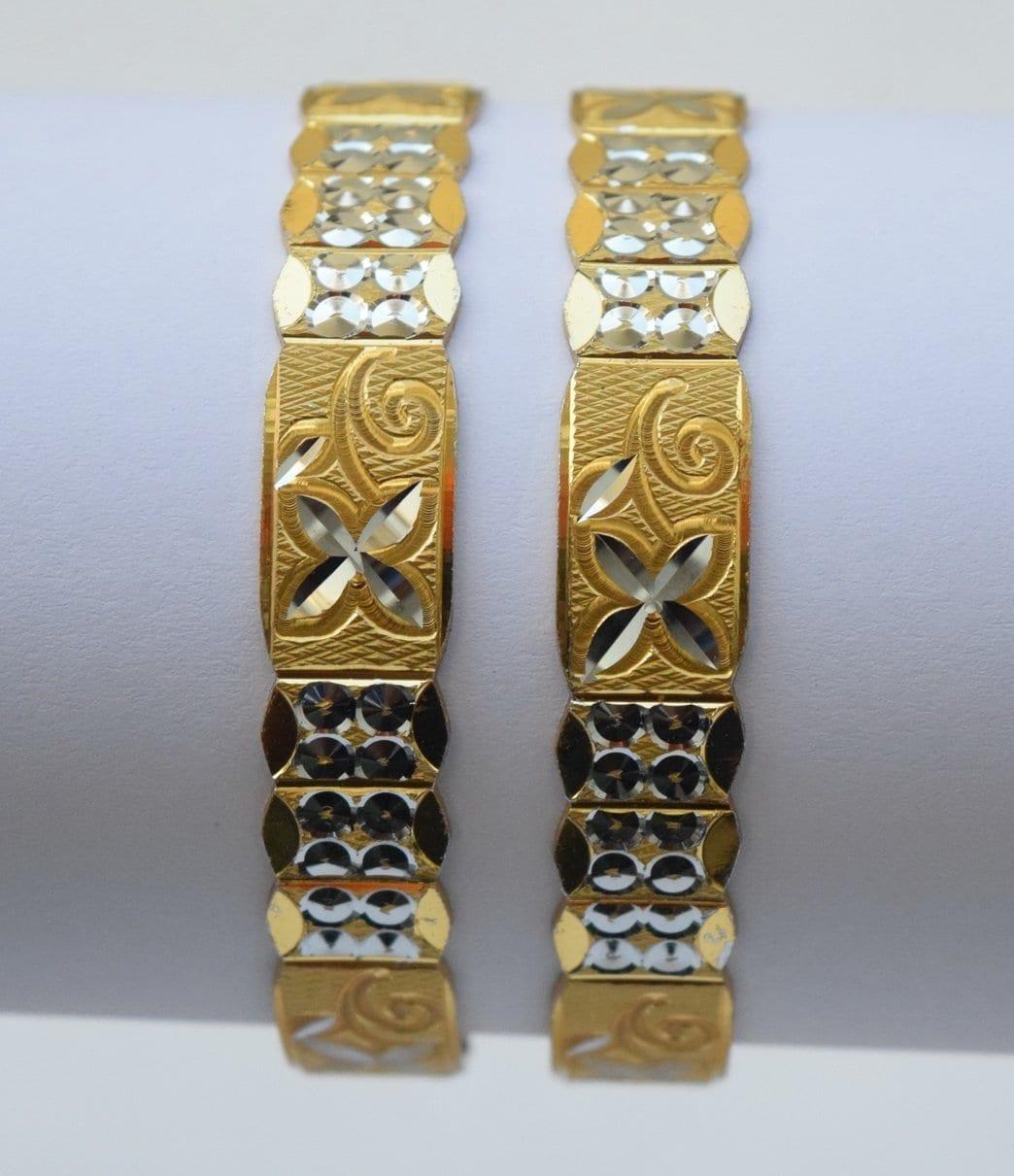 Golden Silver designer kangan bangles set of 2 pieces BN156 2