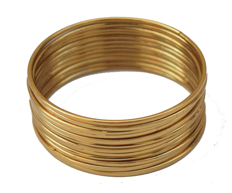 Plain Golden bangles set of 12 pieces BN158 1