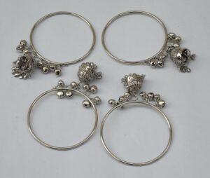 Silver Colour Latkan ghungroo bells bangles set of 4 pieces BN159