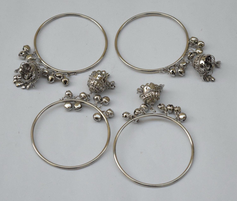 Silver Colour Latkan ghungroo bells bangles set of 4 pieces BN159 1