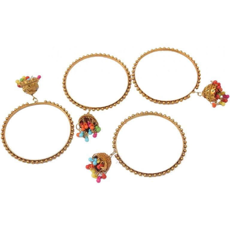Golden Latkan bells bangles set of 4 pieces BN160