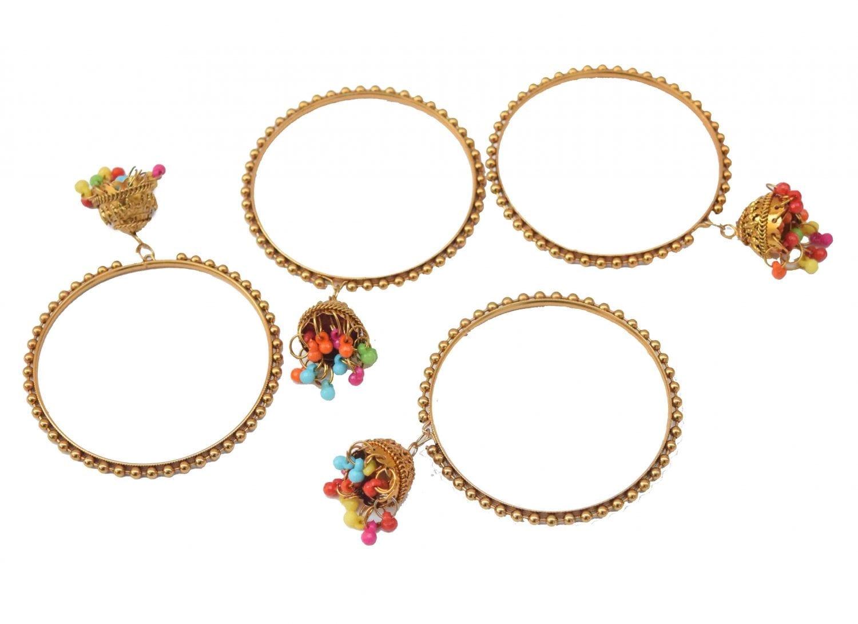 Golden Latkan bells bangles set of 4 pieces BN160 1