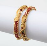 Red Golden designer kangan bangles set of 2 pieces BN161