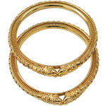 Sher Muha Golden designer kangan bangles set of 2 pieces BN162