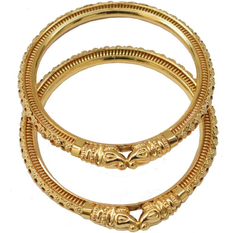 Sher Muha Golden designer kangan bangles set of 2 pieces BN162