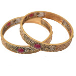 Antique Golden designer bangles with ruby colour stone BN163
