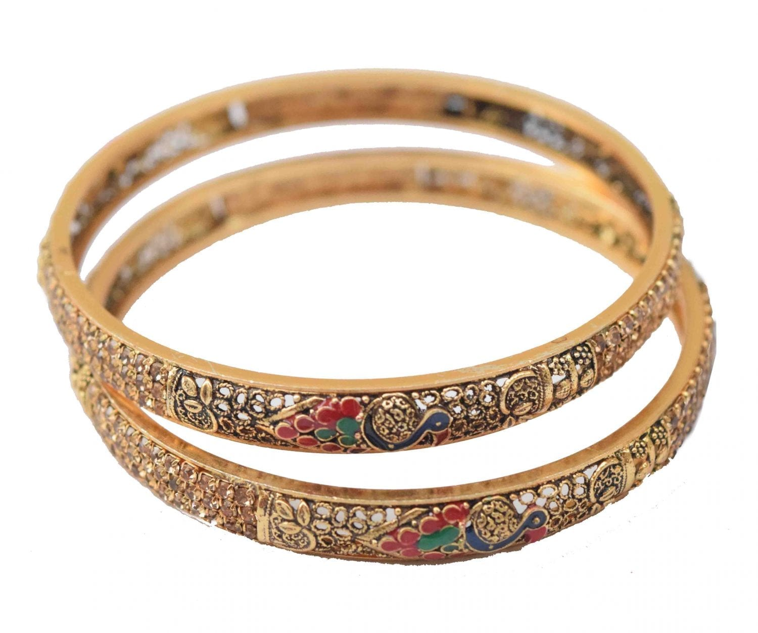 Antique Golden designer bangles with multicolor meena work BN164 1