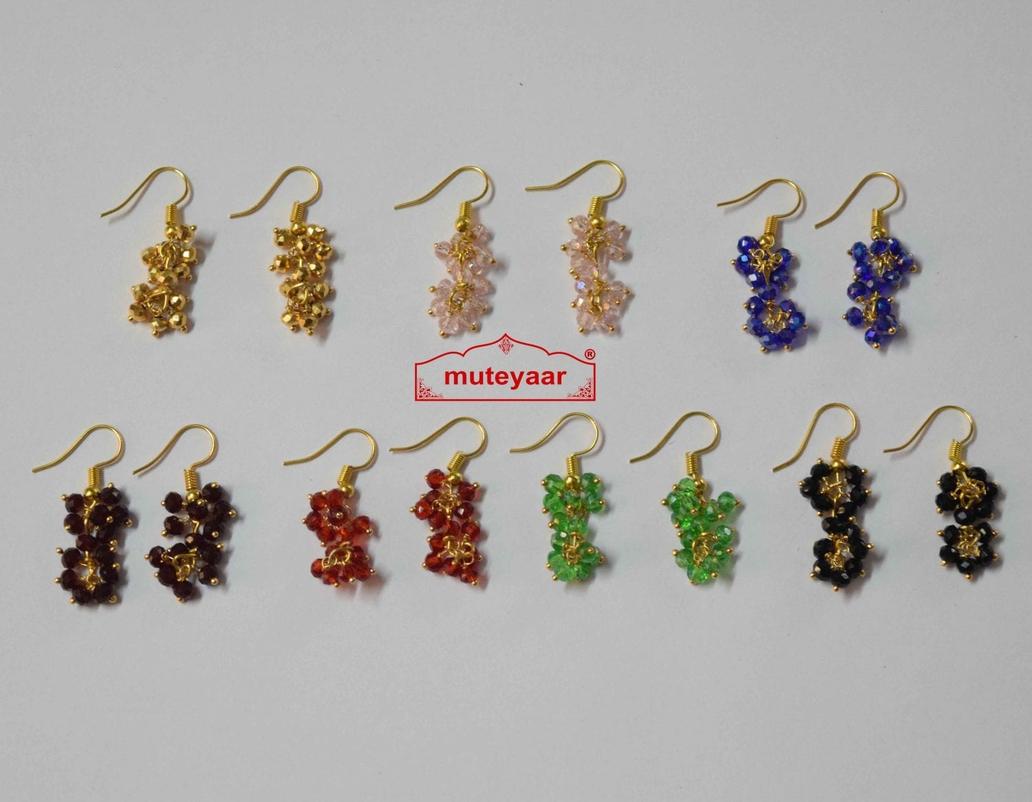Crystal Jhumki Earrings Bulk Lot of 10 Pairs at Wholesale Price 1