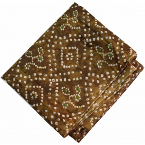 Brown Bandhani allover Printed 100% Pure Cotton Fabric PC464