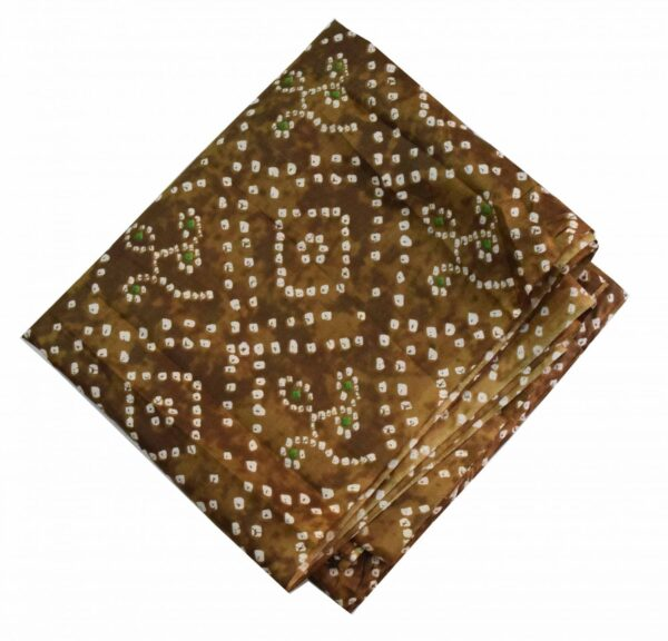 Brown Bandhani allover Printed 100% Pure Cotton Fabric PC464 (Price by meters)