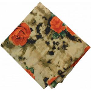 Orange Flower Printed 100% Pure Cotton Fabric PC465
