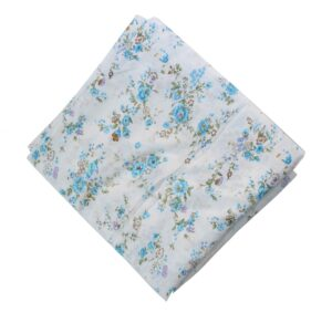 White Base Firozi Flowers Printed Cotton Fabric PC466