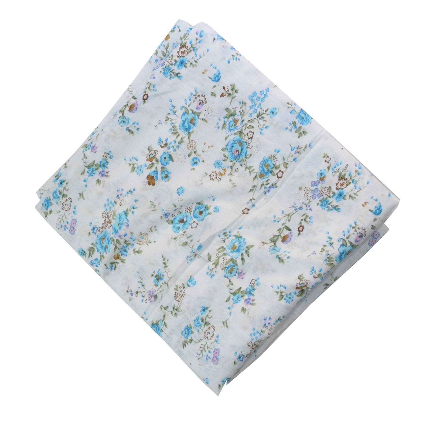 White Base Firozi Flowers Printed Cotton Fabric PC466 1