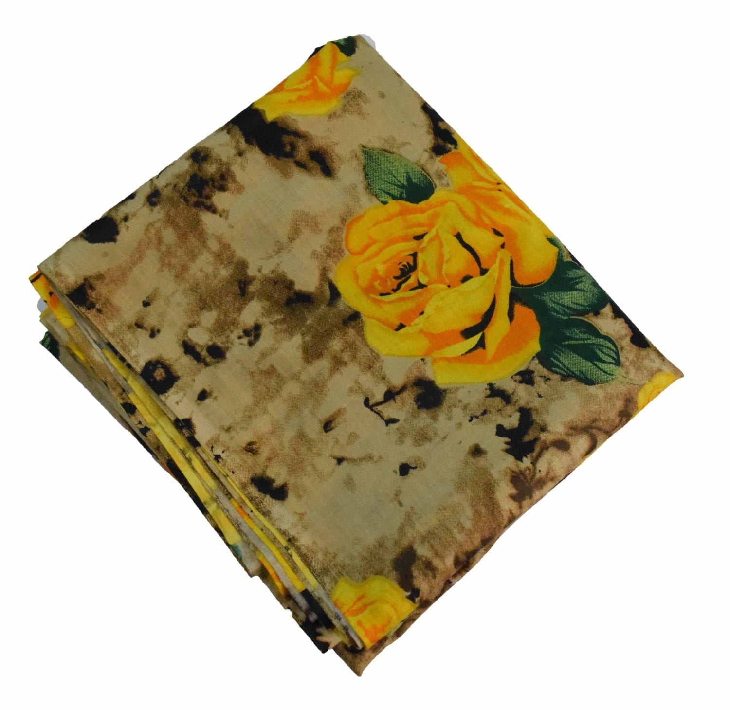 Yellow Flowers Printed Pure Cotton Fabric PC467 1