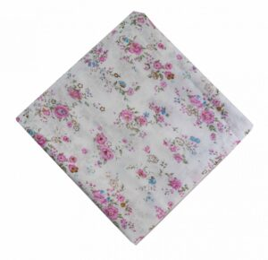 Pink Flowers on White Cotton Fabric PC470
