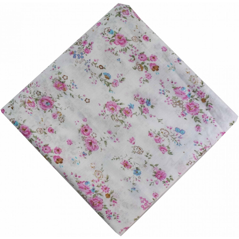 Pink Flowers on White Cotton Fabric PC470 (Price by meters)