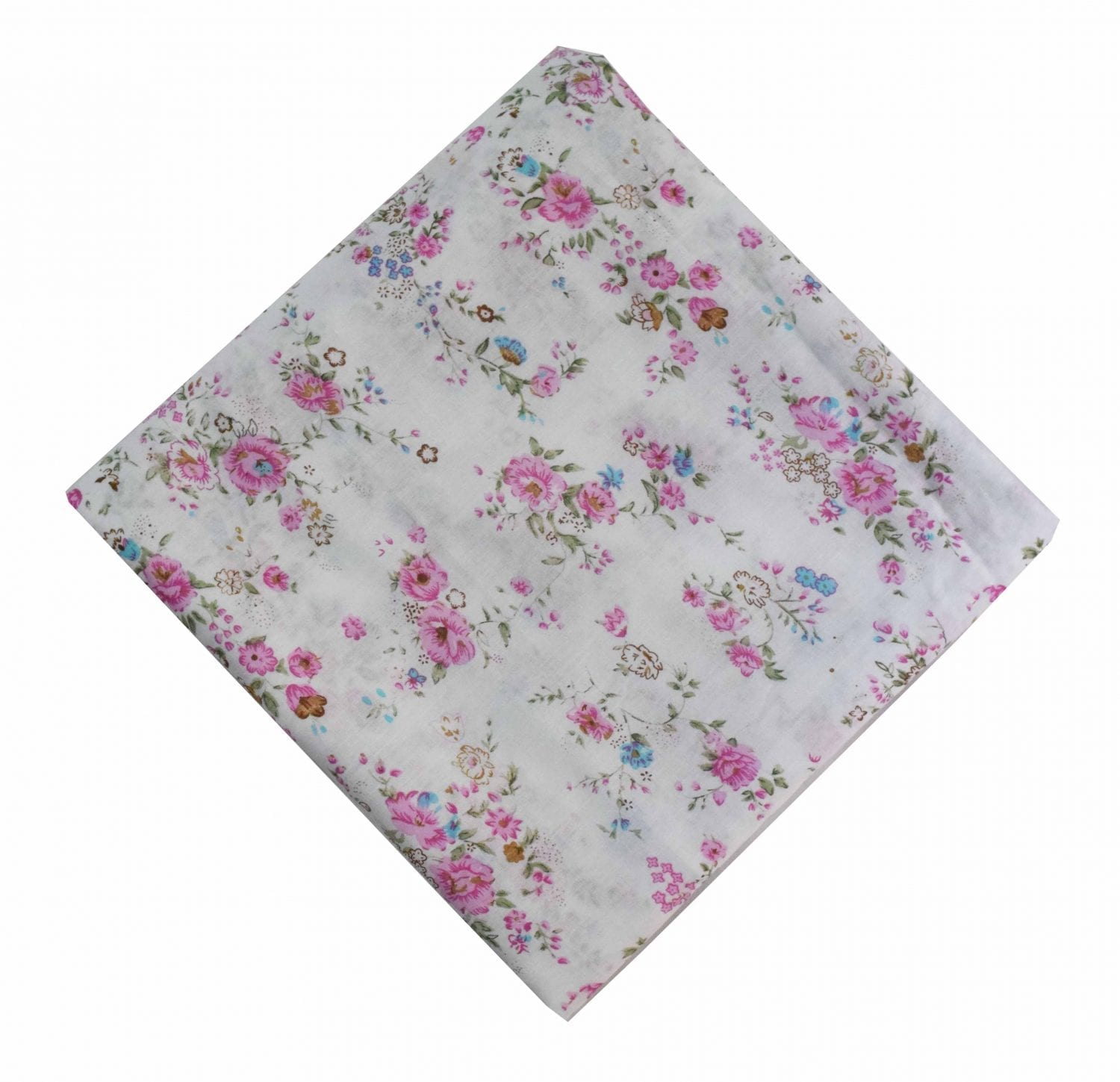 Pink Flowers on White Cotton Fabric PC470 1