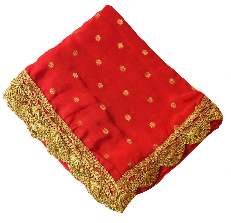 Golden Polka Print Dupatta Semi Chinon with Pakhi Gota 5