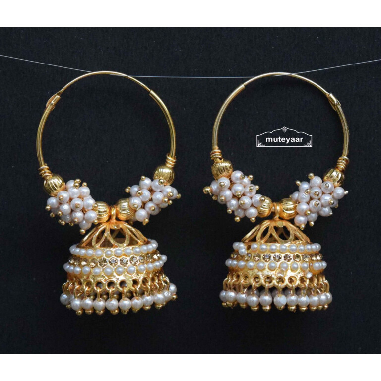 Golden White Jadau Jhumki Bali Earrings J0497