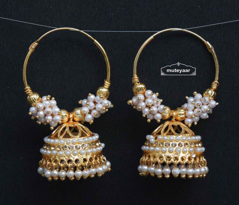 Golden White Jadau Jhumki Bali Earrings J0497 1