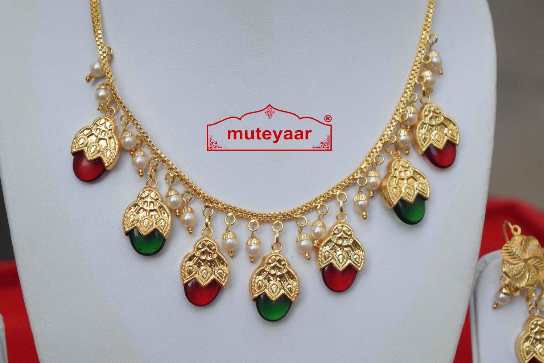 Traditional Punjabi Red Green Dakh Set J0499 2