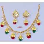Traditional Punjabi Red Green Dakh Set J0499