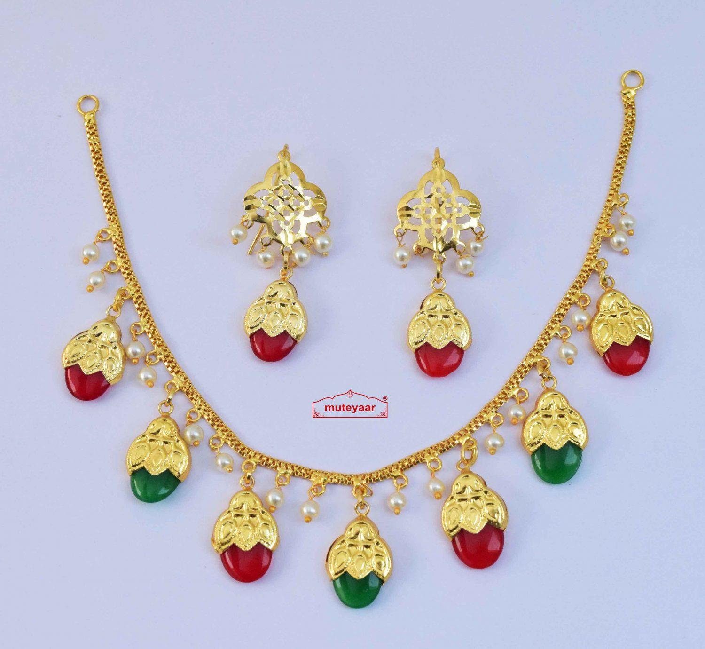 Traditional Punjabi Red Green Dakh Set J0499 1