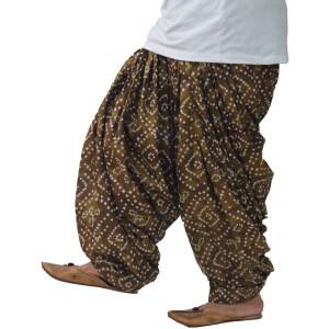 Brown Bandhani Print Pure Cotton patiala Salwar PPS304