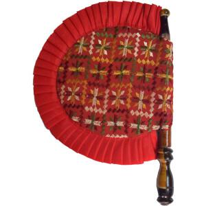 Phulkari Pakhi Hand Embr Punjabi Hand Fan size 16 inch length T0241