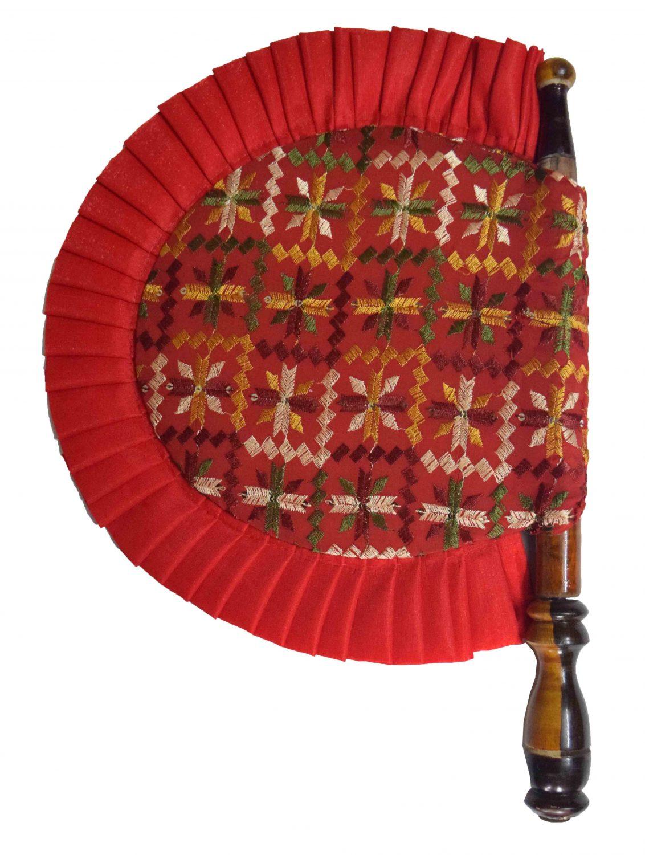 Phulkari Pakhi Hand Embr Punjabi Hand Fan size 16 inch length T0241 1
