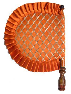 Orange Punjabi Pakhi Embroidered Hand Fan T0242