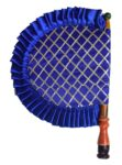 Blue Punjabi Pakhi Embroidered Traditional Hand Fan T0243