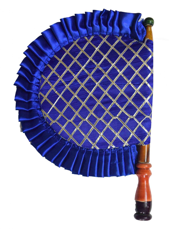 Blue Punjabi Pakhi Embroidered Traditional Hand Fan T0243 1