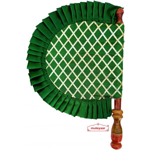 Green Punjabi Pakhi Embroidered Traditional Hand Fan T0244