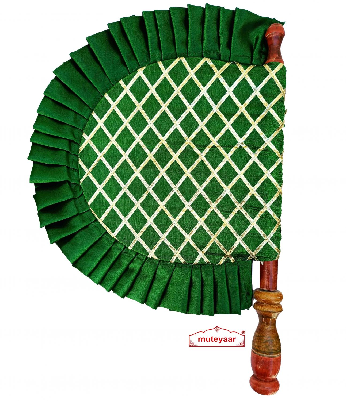 Green Punjabi Pakhi Embroidered Traditional Hand Fan T0244 1